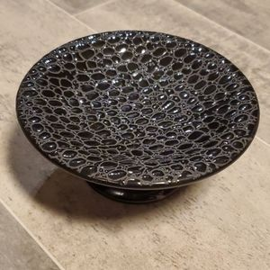Black Ceramic Pennled Mini Pedestal Tray